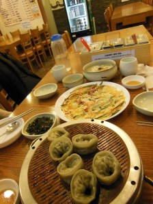 Steamed dumplings and seafood pancake